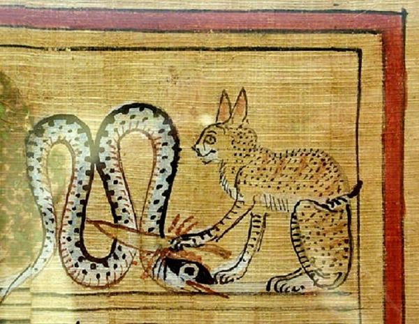1. Chat pourfendeur du Dieu serpent Apophis papyrus égyptien antique.