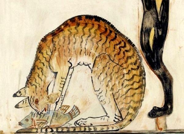 2. Chat tigré domestique se nourrissant dun poisson fresque égyptienne antique.