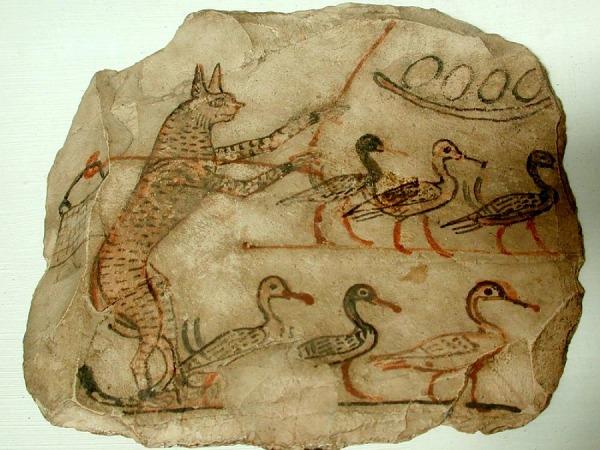 8. Chat humanisé gardant des canards Ostracon calcaire denviron 1200 ans av JC musée du Caire