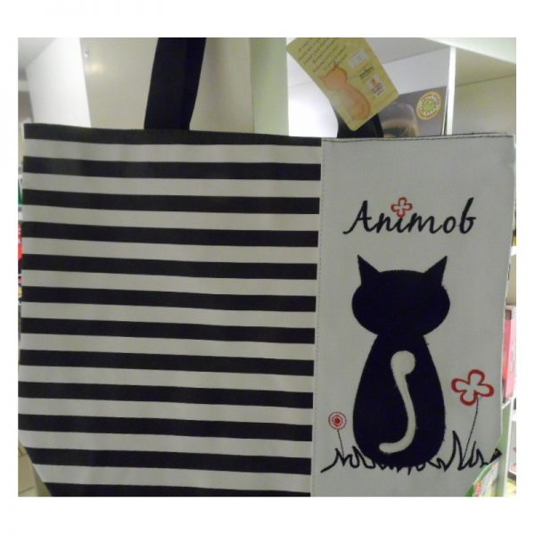 Cabas animob avec un chat comme motif de décoration noir et blanc