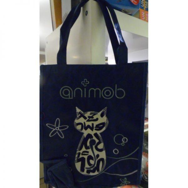 Cabas animob bleu marine sur le thème du chat