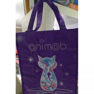 Cabas animob mauve sur le thème du chat
