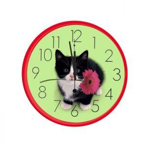 Horloge murale le chaton et sa fleur