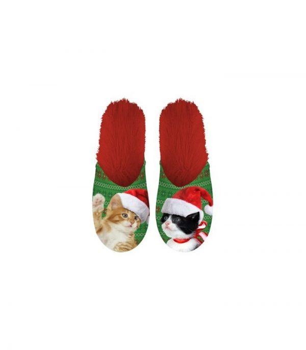 Paire de pantoufle motif Chats de Noël
