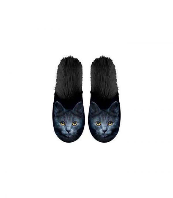 Paire de pantoufles motif chat noir