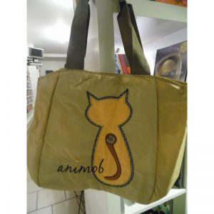 Sac shopping beige animob avec chat