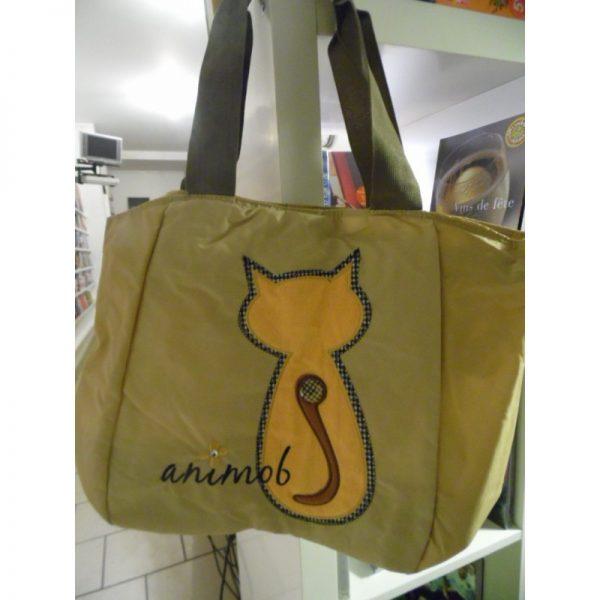 Sac shopping beige animob avec chat