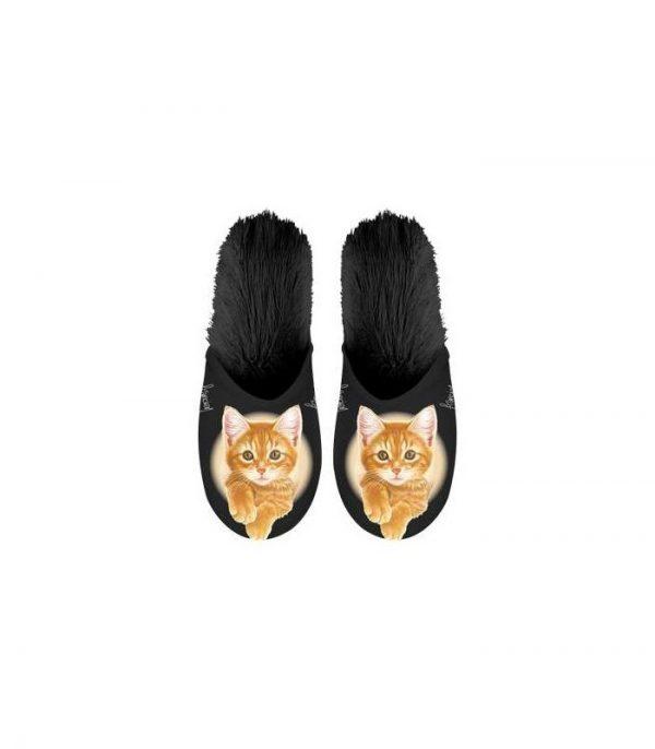 Paire de pantoufles motif chat roux